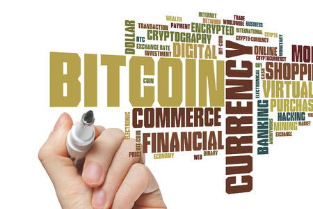 net trade: Bitcoin concept word cloud background