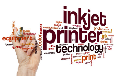 Inkjet printer word cloud concept Stock Photo