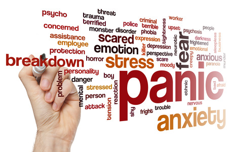 fear: Panic word cloud concept with fear stress related tags