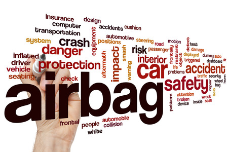 Airbag word cloud concept with car safety related tags