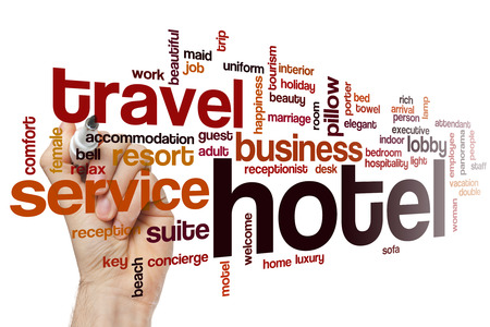 Hotel word cloud concept Stock Photo