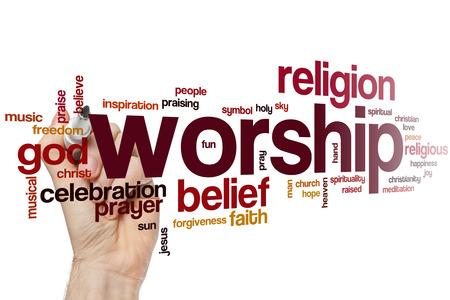 Aanbidding word cloud concept