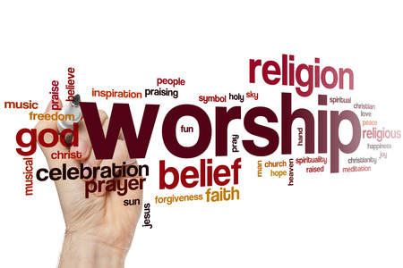 worship hands: Worship word cloud concept
