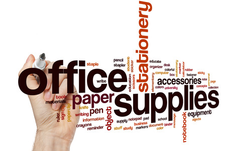 Office supplies word cloud concept
