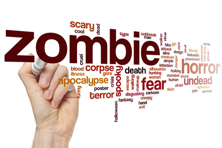 undead: Zombie word cloud concept with horror undead related tags