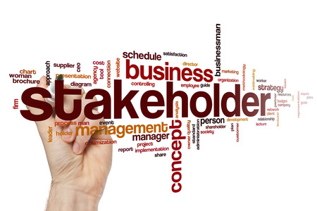 Stakeholder word cloud concept with business budget related tags Stock Photo