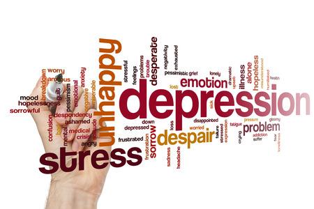 depresión: La depresión concepto de nube de palabras de fondo