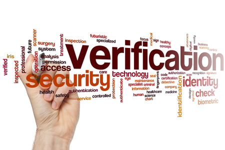 Verification word cloud concept Stock Photo