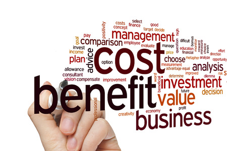 financial questions: Cost benefit concept word cloud background Stock Photo