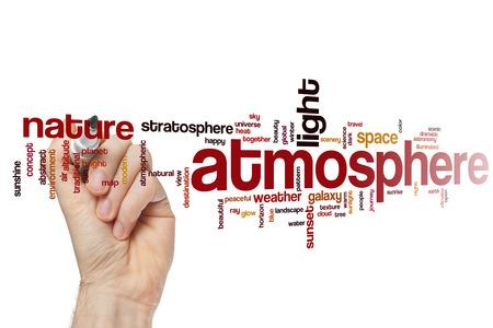 an atmosphere: Atm�sfera nube de palabras Foto de archivo