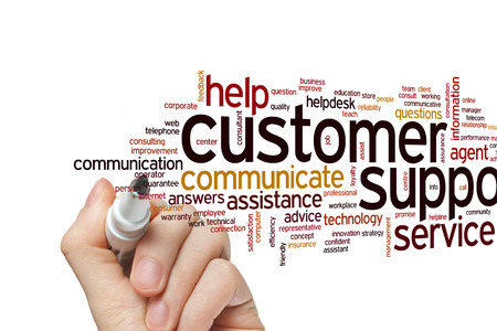 Customer support concept word cloud background Stock Photo