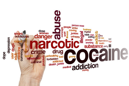 snort: Cocaine word cloud concept with narcotic abuse related tags