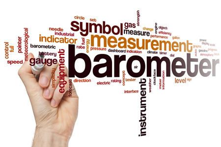 atmospheric pressure: Barometer word cloud concept with instrument equipment related tags