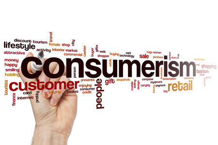 consumerism: Consumerism word cloud concept with retail store related tags