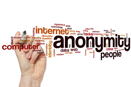 anonymity: Anonymity word cloud concept with hacker network related tags