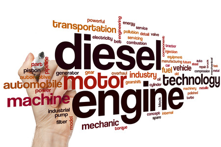 Diesel engine word cloud concept with motor machine related tags Archivio Fotografico