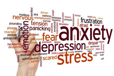 depresi�n: Concepto Ansiedad nube de palabras de fondo Foto de archivo