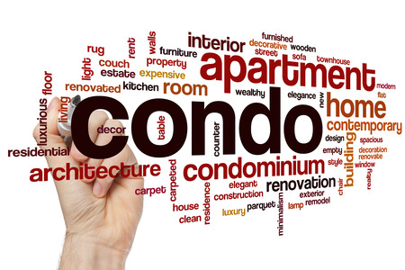 home related: Condo word cloud concept with apartment home related tags