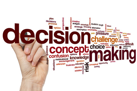 decisionmaking: Decisionmaking concept word cloud background Stock Photo