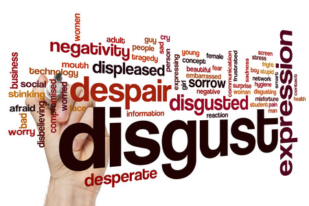 disgust: Disgust word cloud concept with negativity stress related tags
