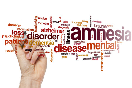 traumatic: Amnesia word cloud concept Stock Photo