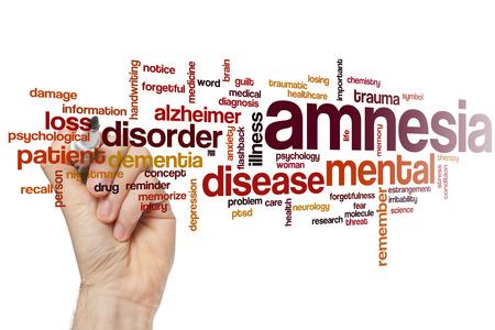 forgetfulness: Amnesia word cloud concept Stock Photo