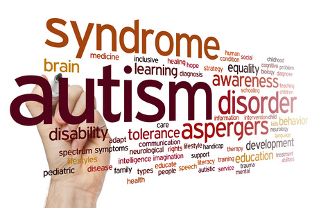 discapacidad: Concepto de autismo nube de palabras de fondo