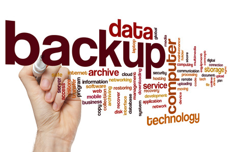 Backup concept word cloud background Stock Photo