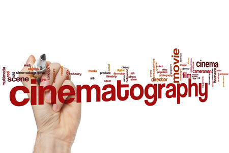 Cinematography word cloud concept Stock Photo