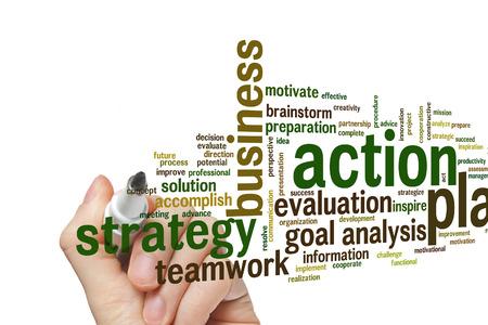 plan de accion: Acci�n concepto de plan de nube de palabras de fondo