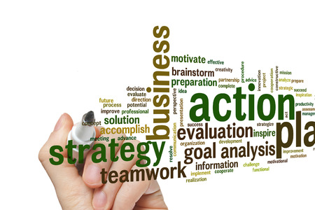 an action: Action plan concept word cloud background Stock Photo
