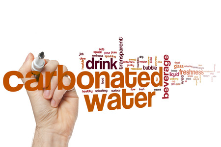 carbonated drink: Carbonated water word cloud concept with beverage drink related tags Stock Photo