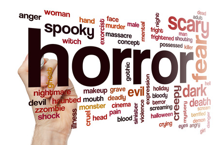 exorcist: Horror word cloud concept with fear scary related tags