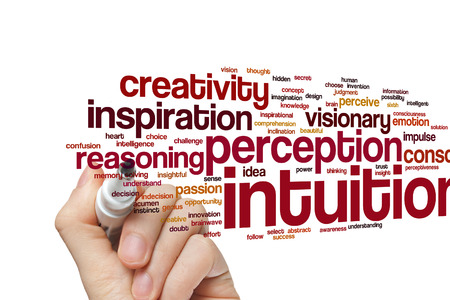 intuition: Intuition word cloud background Stock Photo