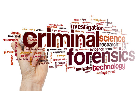 forensics: Criminal forensics concept word cloud background Stock Photo