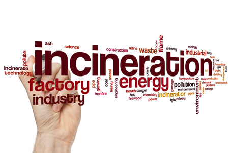 gas fireplace: Incineration word cloud concept with waste smoke related tags