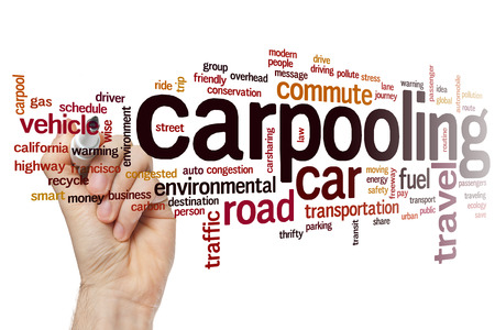 thrifty: Carpooling concept word cloud background