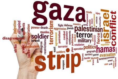 incursion: Gaza concept de bande mot fond de nuage Banque d'images