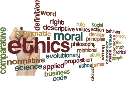 evolutionary: ethics moral philosophy word cloud concept on white Stock Photo