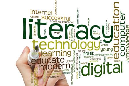 Concepto de alfabetización digital nube de palabras de fondo Foto de archivo - 42387148