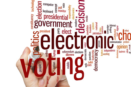 electronic voting: Electronic voting concept word cloud background