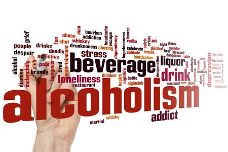 alcoholismo: Concepto del alcoholismo nube de palabras de fondo Foto de archivo