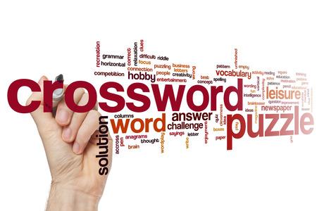 clues: Crossword puzzle word cloud concept Stock Photo