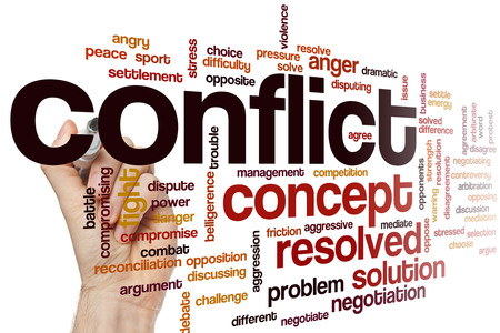 Conflict word cloud concept