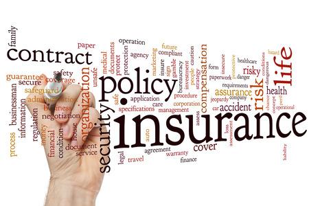 Concept de l'assurance mot fond de nuage Banque d'images - 42387204