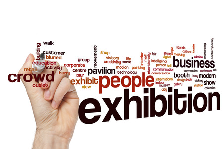exhibition: Exhibition word cloud Stock Photo