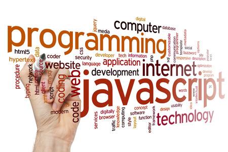 Javascript concept word cloud background Foto de archivo