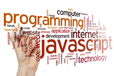 javascript: Javascript concept word cloud background Stock Photo