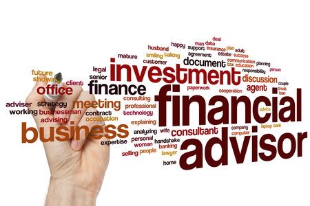 couple talking: Financial advisor word cloud concept with investment business related tags