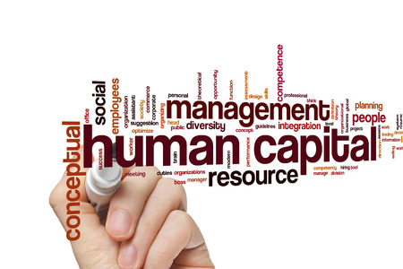 capital humano: Concepto de capital humano nube de palabras de fondo